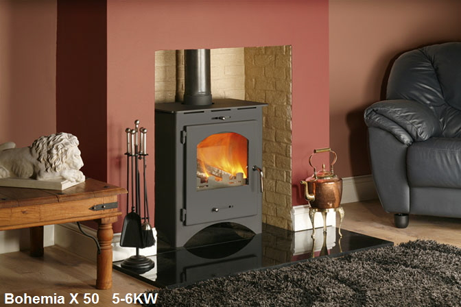 Bohemia X50 Defra approved wood burning stove click to see it burning