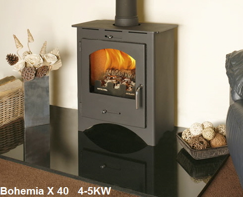 Bohemia X40 Defra approved wood burning stove click to see it burning