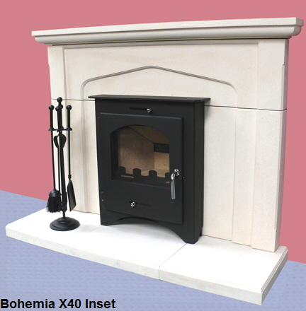 Bohemia X40 Inset wood burning stove in limestone surround  click to see it burning