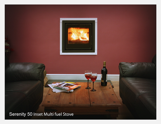 Serenity 50 Inset stove in room set